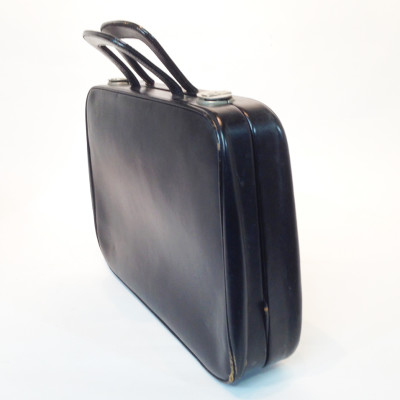 Thin Black Soft Leather Suitcase