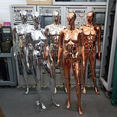 Futuristic metallic mannequins