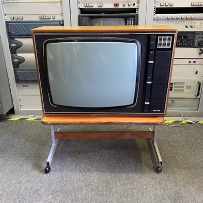 Fully working vintage Philips G22C566/09 colour TV on stand