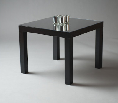 Black Squared Mirrored Top Table
