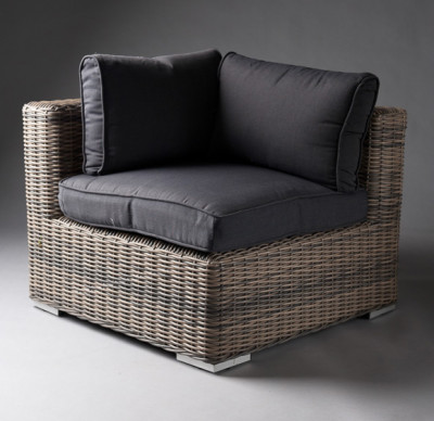 Black Outdoor Rattan Corner