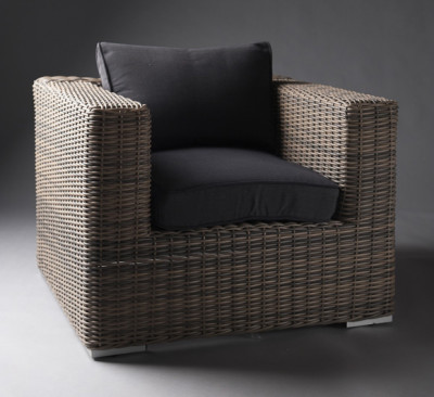 Black Outdoor Rattan Armchair