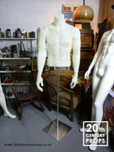 Male fibre glass mannequin torso on stand