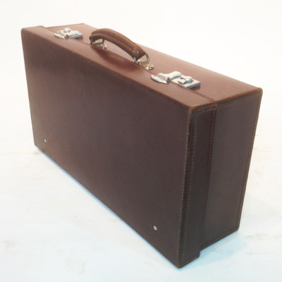 Dark Brown Leather Suitcase