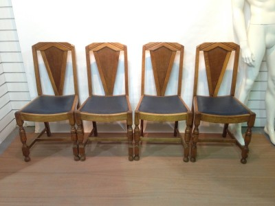 Art deco style oak dining chairs
