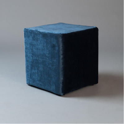 Small Blue Velvet Square Pouf