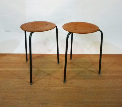 Small Metal and Wooden Stools
