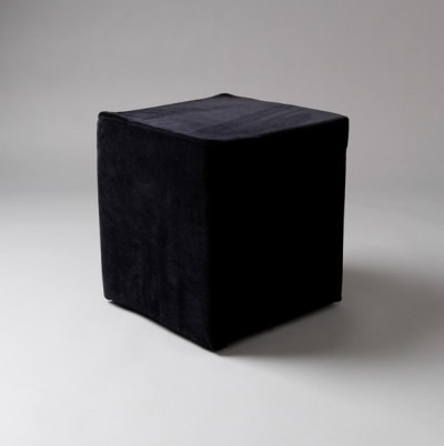 Small Black Velvet Square Pouf
