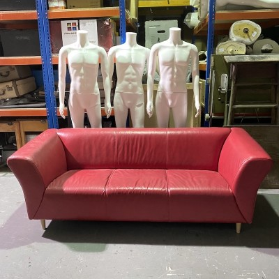 Red faux leather 3 seater sofa