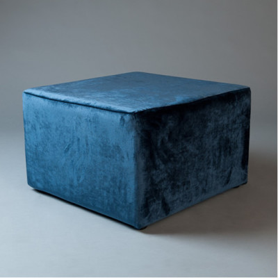 Large Blue Velvet Square Pouf