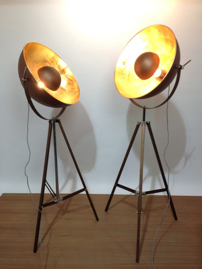 Domed Stage Light - Copper & Gold Leaf