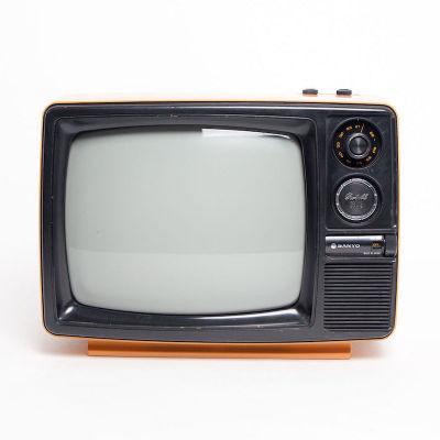 Fully working orange 1970's black & white Sanyo TV