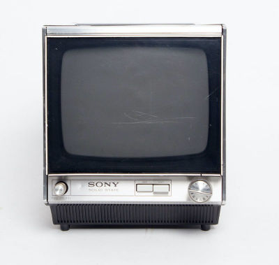 Static only Sony Solid State transistor mini portable black TV