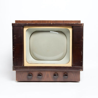 Non practical vintage Philips TV with wooden casing