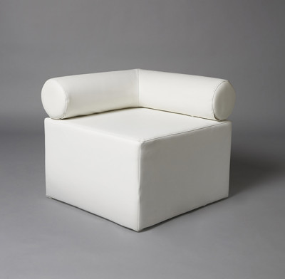 White Single Bolster Corner Modular Sofa