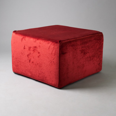 Large Red Velvet Square Pouf