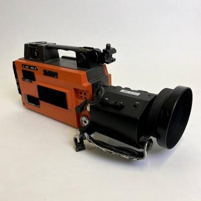 Non practical retro 'JVC' film camera with tripod