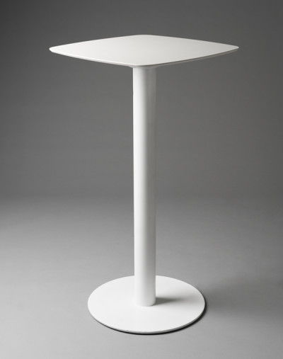 White Rounded Square Poseur Table