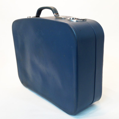 Blue Soft Leather Medium Suitcase