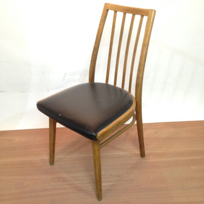 Wooden and Black Leather Vintage Chair