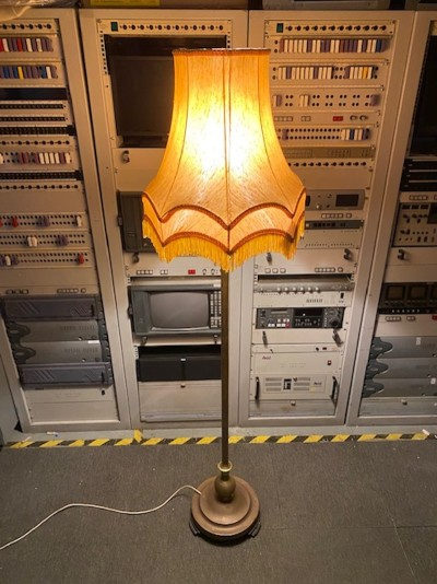 1970's yellow fringe lampshade with brass stand