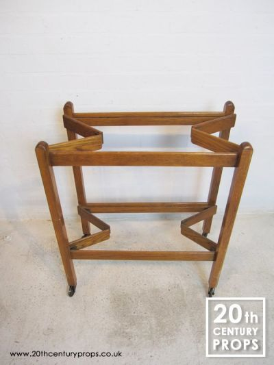 Folding oak 2 tier hostess trolley