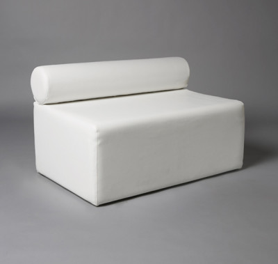 White Single Bolster 1 Meter Length Modular Sofa