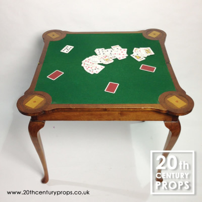 Regency walnut folding card, bridge, poker table