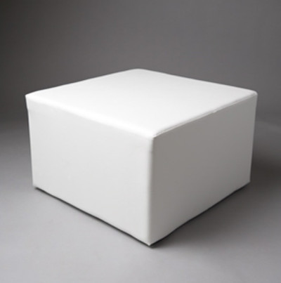 Large White Square Pouf