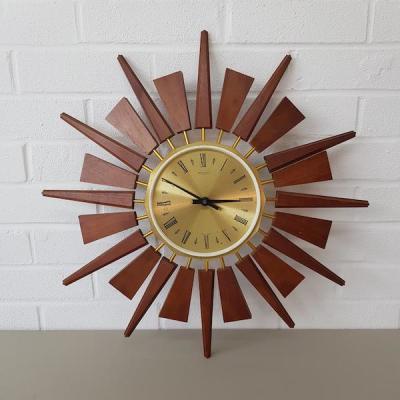 1970's Gold Wooden Clock