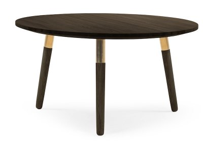 Dark wooden coffee table with brass detail