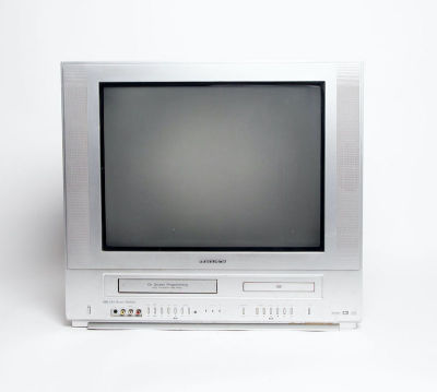 Static only Ferguson silver TV with integrated VHS & DVD players