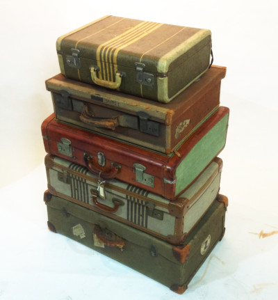 Stack of Vintage Canvas Suitcases