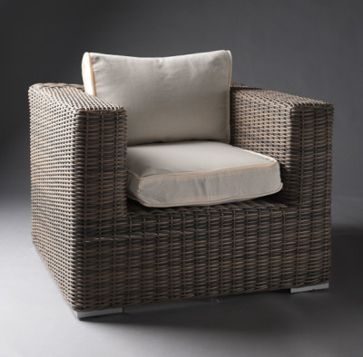 White Outdoor Rattan Armchair