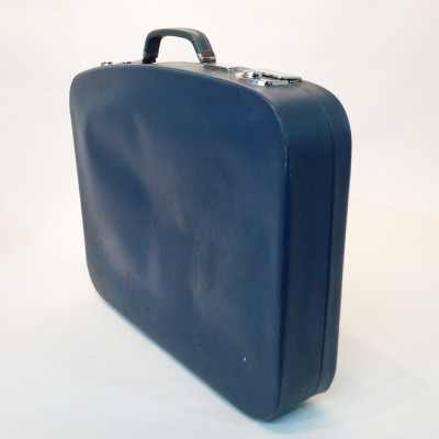 Thin Blue Soft Leather Suitcase
