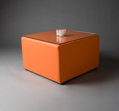 Orange Square Pouf Table