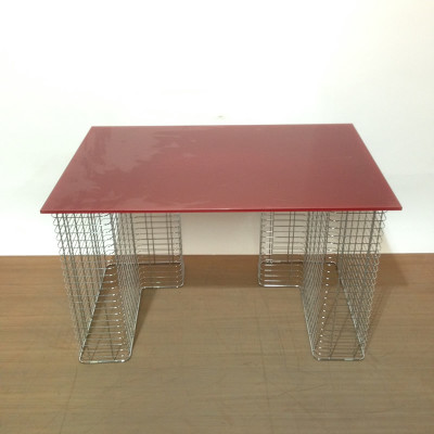 Ruby red glass top desk with chrome supports