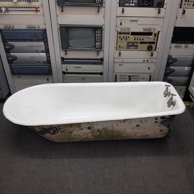 White enamel vintage bath with original taps