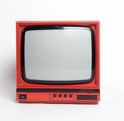 Non practical red portable Ferguson 14C2 TV