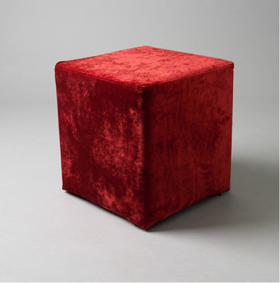 Small Red Velvet Square Pouf