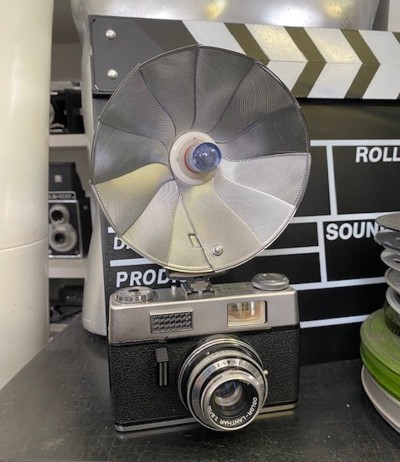 Vintage Agfa camera with flash unit