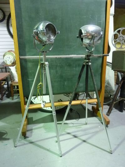 Vintage 'STRAND ELECTRIC' Polished Chrome Spotlights