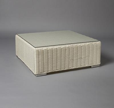 White Base Rattan Table