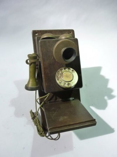 Vintage wooden & brass telephone
