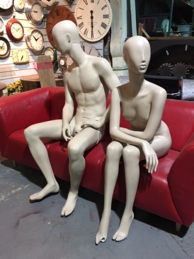 Full bodied sitting mannequins