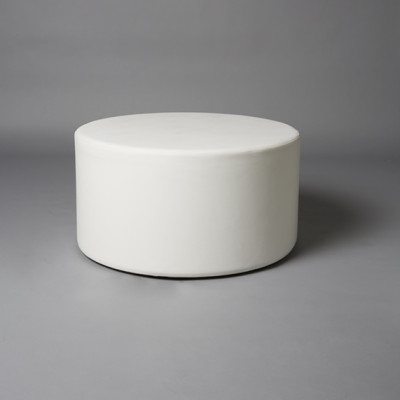 Large White Round Pouf