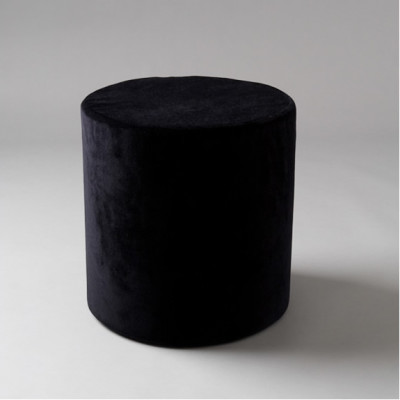 Small Black Velvet Round Pouf