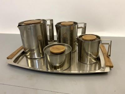 Stainless steel tea, coffee, milk & sugar set on tray