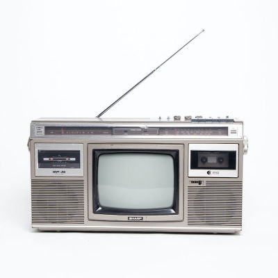 Fully working black & white Sharp integrated TV with radio & tape deck