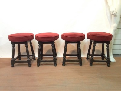 Red low pub/bar stools
